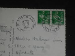 BELLE ISLE EN TERRE - COTE D ARMOR - CACHET ROND MANUEL SUR MOISSONNEUSE - GARE DE BREST - - Marcophilie (Lettres)