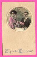 Carte Fantaisie - Je Porte Bonheur - Photo Couple En Médaillon - Fleurs - Autres