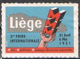 Viñeta LIEGE (Belgica) 1951. Foire Internationalle * - Variétés Et Curiosités