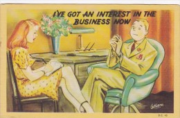 Humour Couple Sitting At Desk I've Got An Interest In The Business Now Signed Warner - Humour
