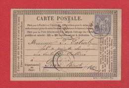 Carte Postale //  De Oullins //  Pour Pierre Bénite // 10 Avril 1878  // - Postwaardestukken