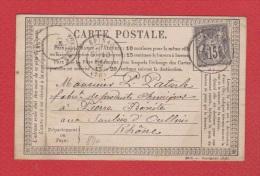 Carte Postale //  De Oullins //  Pour Pierre Bénite // 18 Mai 1877  // - Postwaardestukken
