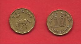 URUGUAY, 1976-1981, Circulated Coin XF, 10 Sentesimos, , Alu Bronze, KM66, C1883 - Uruguay