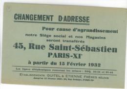 Affiche De Changement D'Adresse à Paris Xi  Des Ets Guitel Etienne  Le 15/02/1932 - Afiches