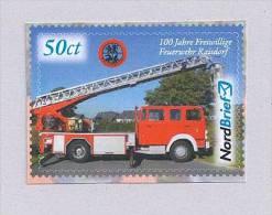 """Privatpost - NordBrief - """"100 Jahre FFW Raisdorf"""" Leiterwagen... Fire-fighting Vehicle - Firemen"""