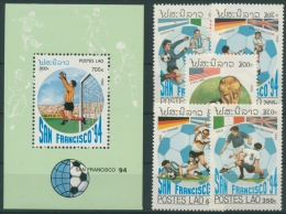 Laos 1992 Fußball-WM USA 1306/10, Block 143 Postfrisch (R6216) - Laos