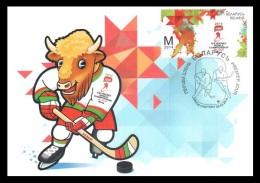 Maxicard Belarus 2014 Mih. 1000 Ice Hockey World Championship. Mascot. Bull (maxicard) - Wit-Rusland
