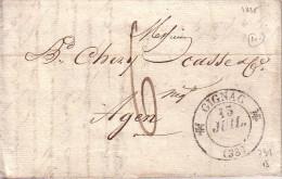 HERAULT - GIGNAC - T12 DU 15-7-1835 - TAXE 6 MANUSCRITE - LETTRE AVEC TEXTE POUR AGEN. - Marcophilie (Lettres)