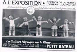 Publicité De Presse 1937, Petit Bateau D'après Béatrice Mallet, Marinette, La Culture Physique à La Plage, 24 Cm X 16 Cm - Publicités