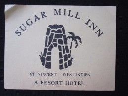 ISLAND HOTEL MOTEL HOUSE INN ST VINCENT SUGAR MILL WEST INDIES STICKER DECAL LUGGAGE LABEL ETIQUETTE KOFFERAUFKLEBER