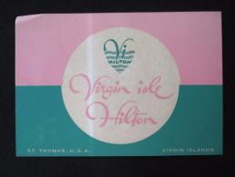 ISLAND HOTEL MOTEL INN HILTON ST THOMAS USA VIRGIN WEST INDIES STICKER DECAL LUGGAGE LABEL ETIQUETTE KOFFERAUFKLEBER
