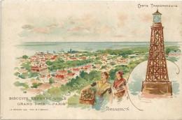 ARCACHON - 33 -     CPA DOS SIMPLE COLORISEE - Biscuits LEFEVRE UTILE (LU) Grand Prix Paris 1900 - - GG - - Arcachon