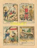 Imagerie D'Epinal, Questions Devinettes Avec Belle Publicité Soldats Et Jouets Quiralu Au Verso, N ° 1319 - Vieux Papiers