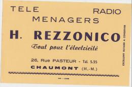 Télé Ménager Radio H. REZZONICO Tout Pour L'électricié  26, Rue Pasteur CHAUMONT - Electricité & Gaz
