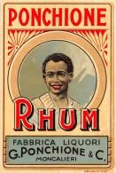 """01594 """"RHUM - FAB. LIQUORI - G. PONCHIONE & C.- MONCALIERI""""  ETICHETTA ORIGINALE, ANNI ´20 - ORIGINAL LABEL , YEARS´ 20. - Rhum"""