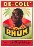 "01596 ""RHUM DE-COLL' - SUCC. L. ORIGLIA & C. - RIVOLI (TO)""  ETICHETTA ORIGINALE, ANNI ´30 - ORIGINAL LABEL , YEARS´ 30. - Rhum"