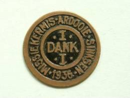 ARDOOIE 1 DANK MISSIEKERMIS SINKSEN 1936 / Dankpenning / Kleur : Geel Koper ( Details Zie Foto´s ) !! - Bélgica