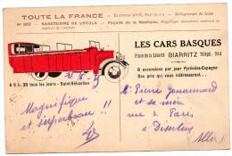 """Pub """"LES CARS BASQUES"""" BIARRITZ Sur Cpa  Sanctuaire De Loyola1935 - Bus & Autocars"""