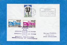 MARCOPHILIE-ERINNOPHILIE-lettre Avignon 1975afft+ Flamme -+2 Vignettes Du Congès Et Fêtes Du Rhone - Commemorative Labels