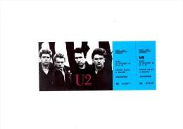 """U 2 Espace Balard PARIS Octobre 1984 - Ticket """"invitation"""" complet talon non d�tach�"""