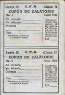 Two travel vouchers by railway, 2nd class, Bukovina Chernivtsi from the year 1934 unused - 2/scans