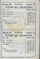 Romania - Two travel vouchers by railway, 2nd class, Bukovina Chernivtsi from the year 1934 unused - 2/scans