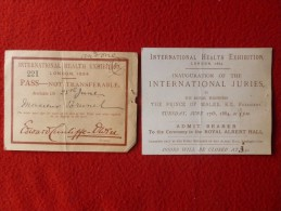 INTERNATIONAL HEALTH EXHIBITION LONDON 1884 PRINCE OF WALES - Tickets - Vouchers