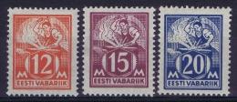 Estland:  Mi Nr 57 - 59 MH/*  1925 - Estonie