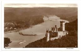 """AK SW Postkarte Stolzenfels Am Rhein. 2 SCANS. Ca. 1927. Stempel: Gruss Vom Rhein An Bord Des Dampfers """"BISMARCK"""" - Rhein-Hunsrueck-Kreis"""