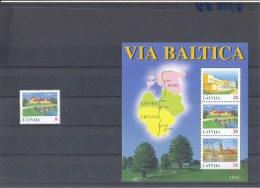 1995 LATVIA - Via Baltica Highway Project  Map SC# 394,395 S/S MNH - Lettonie