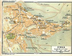 ENNA MINI PIANTINA CARTOGRAFIA T.C.I. 1953 - Carte Geographique