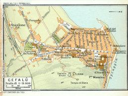CEFALU'  MINI PIANTINA CARTOGRAFIA T.C.I. 1953 - Carte Geographique