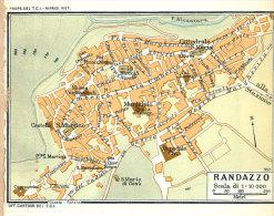 RANDAZZO  MINI PIANTINA CARTOGRAFIA T.C.I. 1953 - Carte Geographique