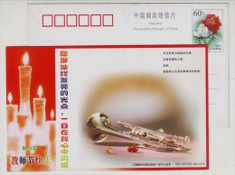 Musical Instrument,China 2003 Ganzhou Teacher's Day Greeting Pre-stamped Card - Musique