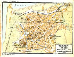 TERMINI IMERESE  MINI PIANTINA CARTOGRAFIA T.C.I. 1953 - Carte Geographique
