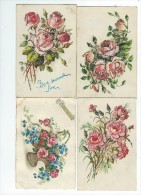 Fantaisies Fleurs Lot 4 Cartes à Paillettes écrites - Fantaisies