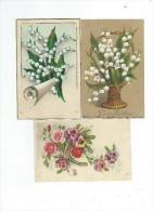 Fantaisies Fleurs Lot 3 Cartes Porte Bonheur 2 Muguet 1 En Relief  Et 1 Fleurs+ Fer à Cheval écrites - Fantaisies
