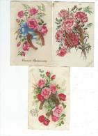 Fantaisies Fleurs Lot 3 Cartes Porte Bonheur  Fleurs Fer à Cheval 1 Avec Paillettes - Fantaisies