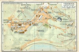 TAORMINA MINI PIANTINA CARTOGRAFIA T.C.I. 1953 - Carte Geographique
