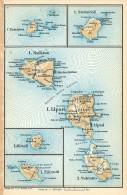 ISOLE EOLIE MINI PIANTINA CARTOGRAFIA T.C.I. 1953 - Carte Geographique