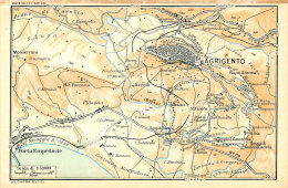 AGRIGENTO & DINTORNI MINI PIANTINA CARTOGRAFIA T.C.I. 1953 - Carte Geographique