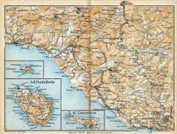 DA SCIACCA AD AGRIGENTO PANTELLERIA & LE ISOLE PELAGIE  MINI PIANTINA CARTOGRAFIA T.C.I. 1953 - Carte Geographique