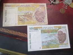 SENEGAL - 1000 FRANCS + 500 FRANCS - BANQUE CENTRALE AFRIQUE DE L'OUEST - VOIR PHOTOS - Serbie