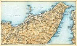 DA TINDARI A MESSINA I PELORITANI  MINI PIANTINA CARTOGRAFIA T.C.I. 1953 - Carte Geographique