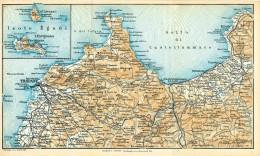 DA ALCAMO A TRAPANI LE ISOLE EGADI MINI PIANTINA CARTOGRAFIA T.C.I. 1953 - Carte Geographique
