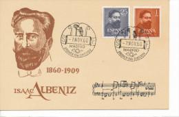 Spanien/España, Ersttagsbrief-Ersttagsansichtskarte/FDC-FDCard, Isaac Albeniz - 1960, Siehe Scan + *) - FDC