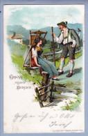 Motiv Gruss Aus Den Bergen 1898-07-22 Litho Karl Stucker - Souvenir De...