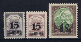 Latvia Lettland: Mi Nr  114 - 116   MH/*    1927  116 Has A Gum Fold Stamp Is Not Folded - Lettonia