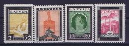 Latvia Lettland: Mi Nr 215 A - 218 A    MH/*   1933 Airmail - Lettland