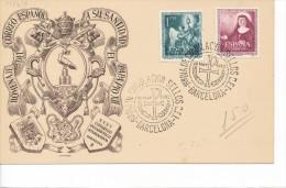 Spanien/España, Ersttagsbrief-Ersttagsansichtskarte/FDC-FDCard, XXXV Congreso Eucaristico International/Barcelona - 1952 - FDC